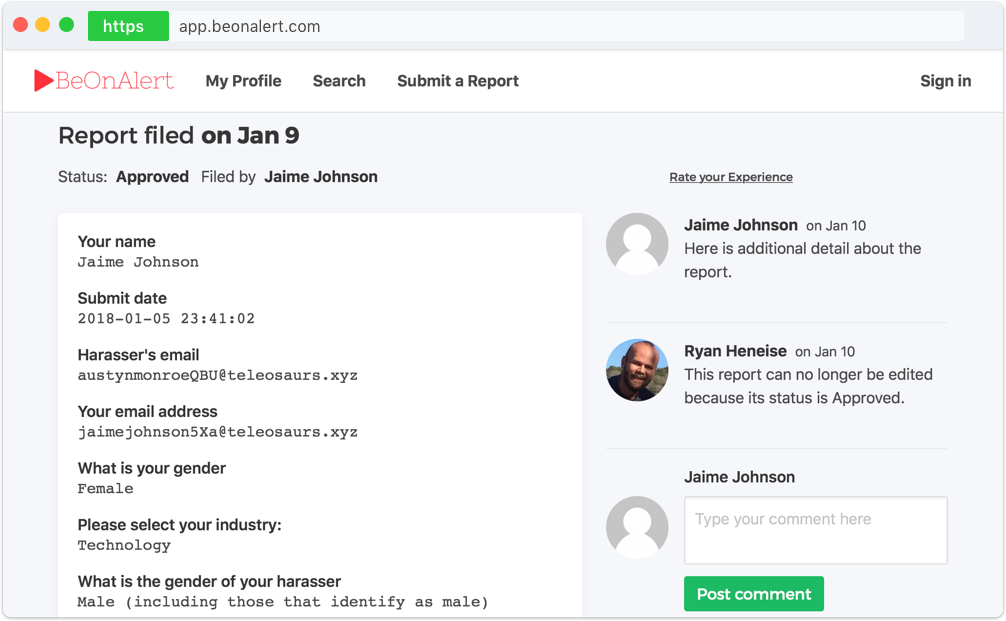 BeOnAlert Submit a Report screenshot